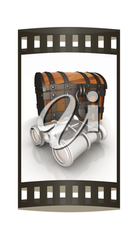 binoculars and chest. The film strip