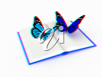 butterfly on a book on a white background. 3D illustration. Anaglyph. View with red/cyan glasses to see in 3D.