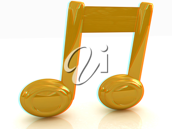 Music note on a white background. Anaglyph. View with red/cyan glasses to see in 3D. 3D illustration