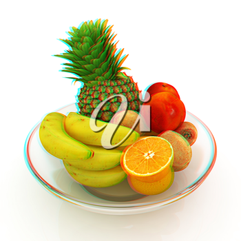 Citrus in a glass dish on a white background. 3D illustration. Anaglyph. View with red/cyan glasses to see in 3D.