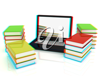 Colorful books and earth on a white background. Anaglyph. View with red/cyan glasses to see in 3D. 3D illustration