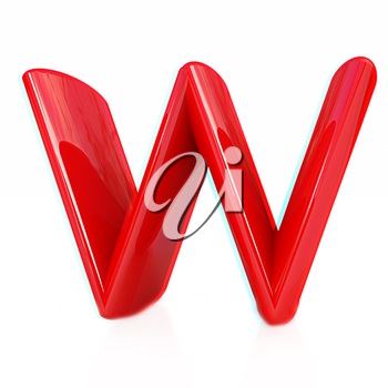 Alphabet on white background. Letter W on a white background. Anaglyph. View with red/cyan glasses to see in 3D. 3D illustration