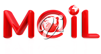 Glossy icon with mail for Earth on a white background. Anaglyph. View with red/cyan glasses to see in 3D. 3D illustration