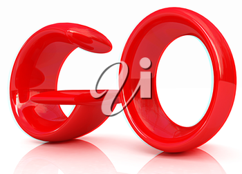 3d red text go on a white background. 3D illustration. Anaglyph. View with red/cyan glasses to see in 3D.
