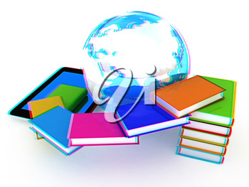 tablet pc and earth with colorful real books  on white background. 3D illustration. Anaglyph. View with red/cyan glasses to see in 3D.