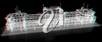 3D abstract architecture on a black background. 3D illustration. Anaglyph. View with red/cyan glasses to see in 3D.