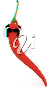 chili pepper with sun glass and headphones front face on a white background. 3D illustration. Anaglyph. View with red/cyan glasses to see in 3D.