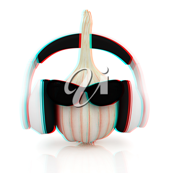 Head of garlic with sun glass and headphones front face on a white background. 3D illustration. Anaglyph. View with red/cyan glasses to see in 3D.
