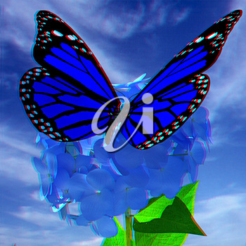 Beautiful Ajisai Flower and butterfly against the sky. Anaglyph. View with red/cyan glasses to see in 3D. 3D illustration