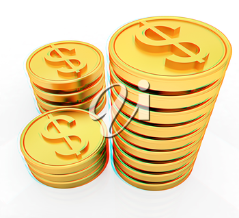 Gold dollar coins on a white background. 3D illustration. Anaglyph. View with red/cyan glasses to see in 3D.