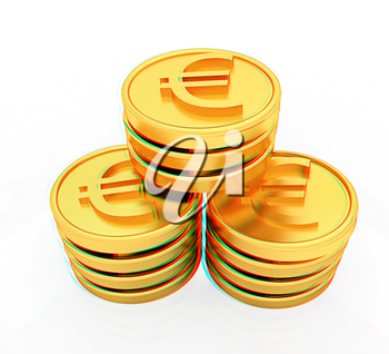 Gold euro coins on a white background. 3D illustration. Anaglyph. View with red/cyan glasses to see in 3D.
