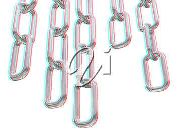 Metal chains on a white background. 3D illustration. Anaglyph. View with red/cyan glasses to see in 3D.