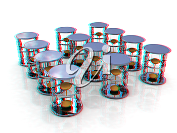 Handglass on a white background. 3D illustration. Anaglyph. View with red/cyan glasses to see in 3D.