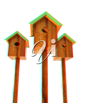 Nesting boxes on a white background. 3D illustration. Anaglyph. View with red/cyan glasses to see in 3D.