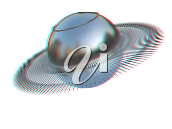 3d fantastic object with the ball. 3D illustration. Anaglyph. View with red/cyan glasses to see in 3D.