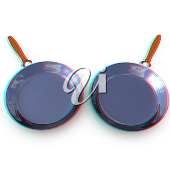 Pan with handle on white background. 3D illustration. Anaglyph. View with red/cyan glasses to see in 3D.