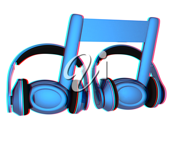 headphones and 3d note on a white background. 3D illustration. Anaglyph. View with red/cyan glasses to see in 3D.