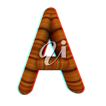 Wooden Alphabet. Letter A on a white background. 3D illustration. Anaglyph. View with red/cyan glasses to see in 3D.