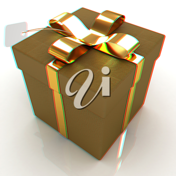 Leather gift-box with gold ribbon. 3D illustration. Anaglyph. View with red/cyan glasses to see in 3D.