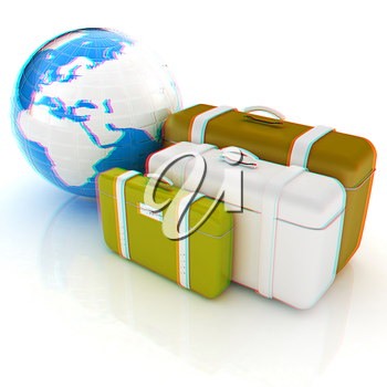 travel bags and earth on white . 3D illustration. Anaglyph. View with red/cyan glasses to see in 3D.