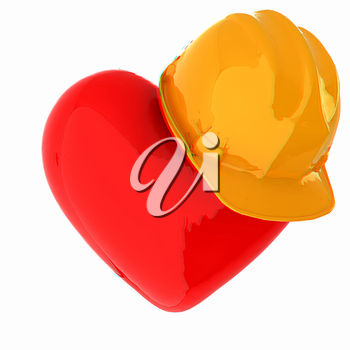 hard hat on heart. 3D illustration. Anaglyph. View with red/cyan glasses to see in 3D.