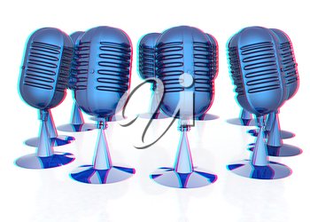3d rendering of a microphones. 3D illustration. Anaglyph. View with red/cyan glasses to see in 3D.