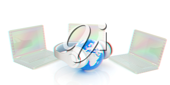 Music online. 3D illustration. Anaglyph. View with red/cyan glasses to see in 3D.
