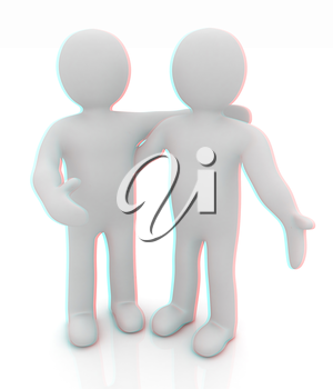 Friends standing next to an embrace. 3d image. Isolated white background. . 3D illustration. Anaglyph. View with red/cyan glasses to see in 3D.