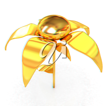 Gold flower. 3D illustration. Anaglyph. View with red/cyan glasses to see in 3D.