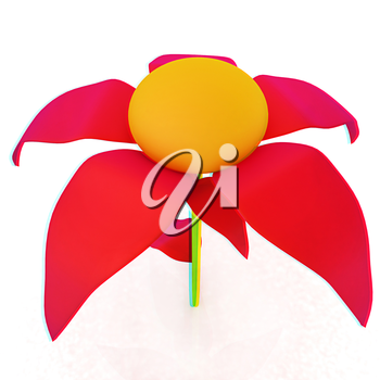 Flower icon 3d . 3D illustration. Anaglyph. View with red/cyan glasses to see in 3D.