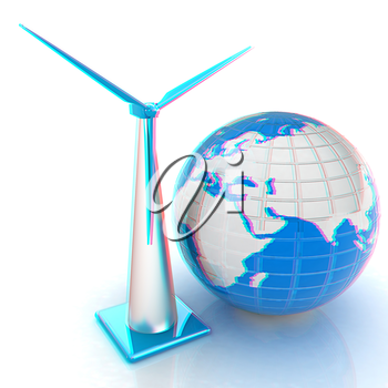 Wind turbine isolated on white. Global concept with eart. 3D illustration. Anaglyph. View with red/cyan glasses to see in 3D.