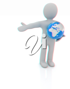 3d people - man, person presenting - pointing. Global concept with earth. 3D illustration. Anaglyph. View with red/cyan glasses to see in 3D.
