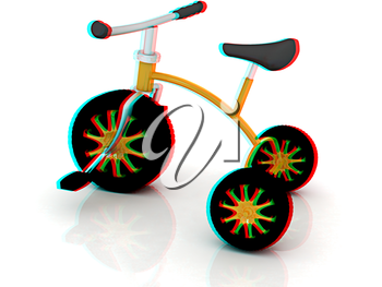 children bicycle on a white background. 3D illustration. Anaglyph. View with red/cyan glasses to see in 3D.