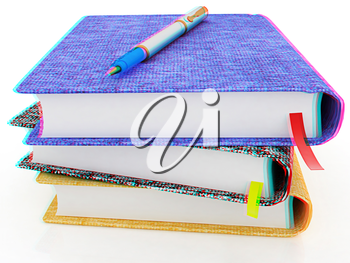 pen on notepad stack on a white background. 3D illustration. Anaglyph. View with red/cyan glasses to see in 3D.