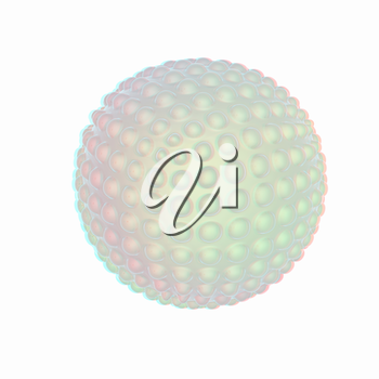 Abstract glossy sphere with pimples . 3D illustration. Anaglyph. View with red/cyan glasses to see in 3D.
