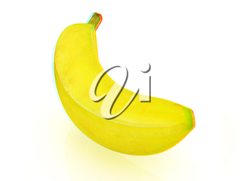 bananas on a white background. 3D illustration. Anaglyph. View with red/cyan glasses to see in 3D.