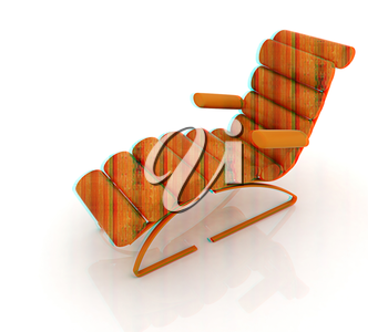 Comfortable wooden Sun Bed on white background . 3D illustration. Anaglyph. View with red/cyan glasses to see in 3D.