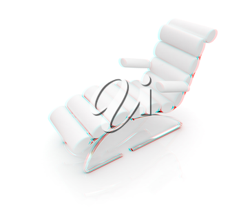 Comfortable white Sun Bed on white background. 3D illustration. Anaglyph. View with red/cyan glasses to see in 3D.