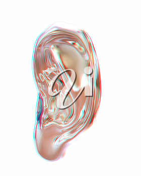 Ear metal 3d render isolated on white background . 3D illustration. Anaglyph. View with red/cyan glasses to see in 3D.