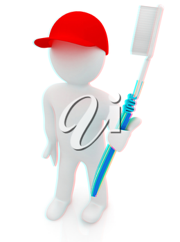 3d man with toothbrush on a white background . 3D illustration. Anaglyph. View with red/cyan glasses to see in 3D.