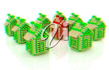 Log houses from matches pattern with the best percent on white . 3D illustration. Anaglyph. View with red/cyan glasses to see in 3D.