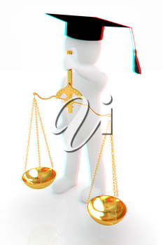 3d man - magistrate with gold scales. Isolated over white . 3D illustration. Anaglyph. View with red/cyan glasses to see in 3D.