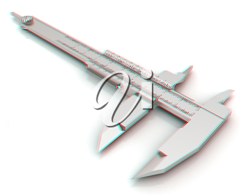 Vernier caliper on a white background. 3D illustration. Anaglyph. View with red/cyan glasses to see in 3D.