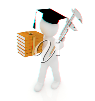 3d man in graduation hat with the best technical educational literature and vernier caliper on a white background. 3D illustration. Anaglyph. View with red/cyan glasses to see in 3D.