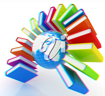 Colorful books like the rainbow and earth on a white background. 3D illustration. Anaglyph. View with red/cyan glasses to see in 3D.