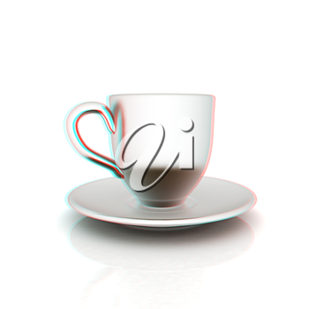 Cup on a saucer on white background . 3D illustration. Anaglyph. View with red/cyan glasses to see in 3D.