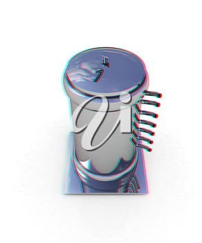 3d abstract metal pressure vessel on white background. 3D illustration. Anaglyph. View with red/cyan glasses to see in 3D.
