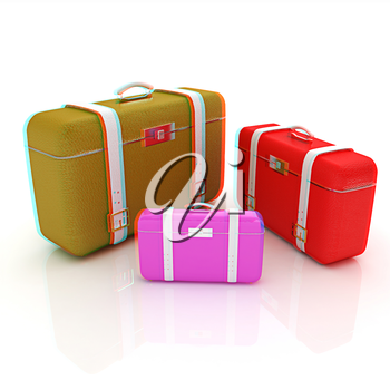 Traveler's suitcases. Family travel concept. 3D illustration. Anaglyph. View with red/cyan glasses to see in 3D.