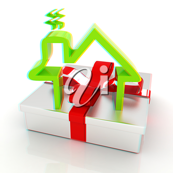 House icon and gift. 3D illustration. Anaglyph. View with red/cyan glasses to see in 3D.