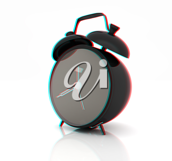 alarm clock . 3D illustration. Anaglyph. View with red/cyan glasses to see in 3D.